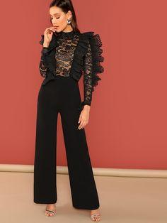 Black Ruffle Trim Sheer Lace Bodice Palazzo Jumpsuit High Waist Skinny Plain Jumpsuit Autumn Women Party Jumpsuits Black S Trendy Dresses, Casual Dresses, Fashion Dresses, Black Ruffle, Ruffle Trim, Ruffle Fabric, Black Romper, Palazzo Jumpsuit, Ruffle Jumpsuit