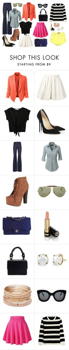 """get rios"" by carol-aragao on Polyvore featuring moda, LE3NO, Marc Jacobs, Jimmy Choo, Breckelle's, Ray-Ban, Chanel, Gucci, Irene Neuwirth e Red Camel"
