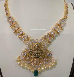 CZ Pacchi Necklace with Lakshmi Pendant photo