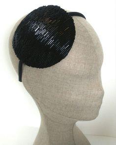Black Beaded Fascinator 1920s Style Black Headdress by lauratoal