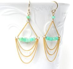 Handmade adorable wire cat earrings httpcraftingwire mint chain chandelier earrings by camla diy for bridesmaids mozeypictures Gallery
