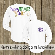 Happy Mardi Gras Yall Pom Pom Spirit Jersey! This glitter vinyl Happy Mardi Gras Yall Pom Pom style spirit jersey is perfect for the Mardi Gras season. PLEASE UTILIZE THE SIZE CHART BEFORE ORDERING...SORRY NO REFUNDS OR EXCHANGES! The size chart can be viewed by clicking on the thumbnail