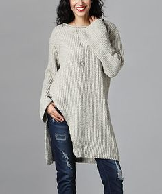 Look what I found on #zulily! Reborn Collection Oatmeal Split-Hem Knit Sweater by Reborn Collection #zulilyfinds