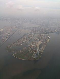 Pantai Mutiara Jakarta from the morning sky