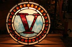 Letter V Made of Red and Blue Antique Leaded Stained Glass with 31 Amber Jewels. $250.00 - Old Portland Hardware & Architectural, Architectural Salvage in Portland, Oregon