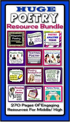 This HUGE Poetry Resource Bundle is a must-have for any middle or high school English teacher.  All the planning and prep is done for you, and your students are engaged, learning, and having fun! Teaching Poetry, Teaching Writing, Essay Writing, Teaching Ideas, Education English, Teaching English, Middle School English, English Class, School Resources