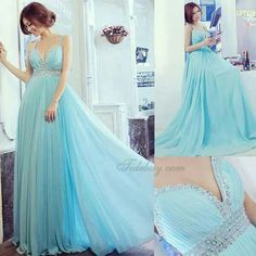Pale blue evening gown
