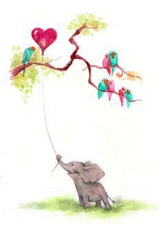 Elephant Valentine Art Print