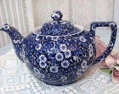 Vintage Calico Blue Chintz Teapot Staffordshire Tea Pot  the first tea pot I owned