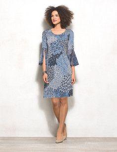 Petite Peacock Printed Dress
