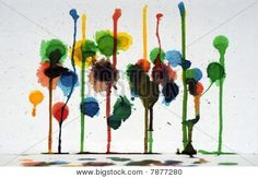 Abstract Colorful Paint Drips Art Stock Photo