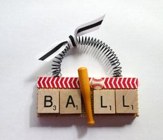 Baseball Ball Bat Scrabble Tile Ornament by ScrabbleTileOrnament