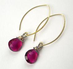 Fuchsia Hot Pink Dangle Earrings Wire Wrapped by DoolittleJewelry, $62.00