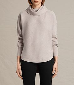 All Saints Rio Roll Neck Sweater - to knit a garter cowl neck sweater with round hems