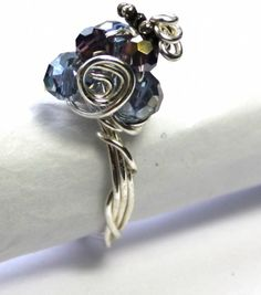 £18 Blue Crystal Silver Wire Wrapped Ring   Gracie Rose Handmade Jewellery