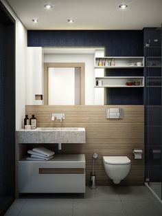 Modern and chic, small bathroom design by Gonye Tasarim.
