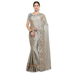 Grey Colour Embroidered Silk Saree With Blouse