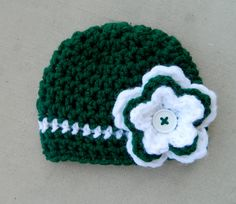 handmade crochet Spartan Michigan State by LittleBirdBands on Etsy, $16.75