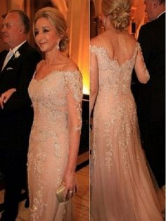 Elegant Lace Tulle Off-the-Shoulder 3/4 Length Sleeves Long Mother of The Bride Dresses 99503007