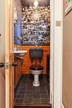Thomas Crapper toilet under stairs retro aesthetic. Victorian Toilet, Victorian Bathroom, Small Toilet Room, Small Bathroom, Bathroom Storage, Thomas Crapper, Understairs Toilet, Toilet Tiles, Downstairs Toilet