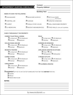 Inspired By The Fun And Frustrations Of Moving, I Present An Apartment  Hunting Guide Checklist