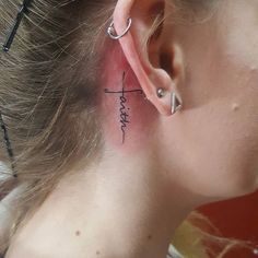 "59 Likes, 1 Comments - Megan Paige (@megan_paige_tattoos) on Instagram: ""A little faith behind the ear #tattoo #faithtattoo #crosstattoo #behindeartattoo #blacktattoo…"""