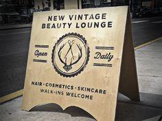New Vintage Beauty Salon - Branding / Identity / Design Creative Company, Creative Design, Signage Display, Window Signage, Salon Signs, Graphic Projects, Beauty Lounge, Vintage Branding, Brand Identity Design