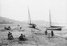 Children playing on beach, Grange-over-Sands, Cumbria; two Nobbies can be noted - National Maritime Museum