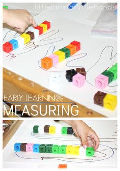 Preschool Math: Measuring Your Hands & Feet. Simple math concepts for early learning with measuring different items. Use blocks, LEGO or unified cubes to measure height, width, or length for a simple math activity.