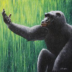 www.freie-kunstschule-korschenbroich.de Kurse für Jugendliche & Erwachsene! Öl auf Leinwand, Gorilla im Regen