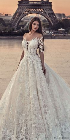 wedding dress 2018 julia kontogruni 2018 bridal half sleeves off shoulder sweetheart neckline full embellishment romantic princess a line wedding dress sheer button back chapel train zv -- Julia Kontogruni Wedding Dresses 2018 Sheer Wedding Dress, Wedding Dresses 2018, Wedding Dresses Plus Size, Princess Wedding Dresses, Bridal Dresses, Romantic Princess, Garter Wedding, Gown Wedding, French Wedding Dress