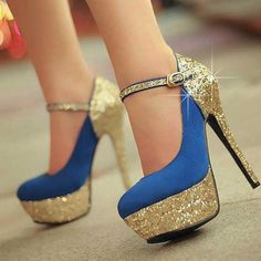 Alternative Wedding Shoes For The Anti-Tulle Bride Ooh . blue and gold! Fashion All-matched Stiletto Heels Closed-toe Women's Shoes womens pumps Dream Shoes, Crazy Shoes, Me Too Shoes, Pretty Shoes, Beautiful Shoes, Gorgeous Heels, Alternative Wedding Shoes, Stiletto Heels, High Heels