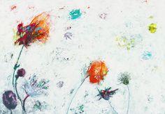 Lenie Kamstra.  Coney Island Melody Dit schilderij komt uit de Coney Island serie, waarbij ik me heb laten inspireren door een tekst van Van Morrison, die in een gesproken ballad mijmert over de uitstapjes die hij in zijn jeugd maakte naar de kust bij Coney Island, in County Down, Noord-Ierland. Op de schilderijen zijn bloemen, wolkenluchten en wuivende rietstengels te zien, maar ook de onderwaterwereld die het eiland in mijn fantasie heeft.