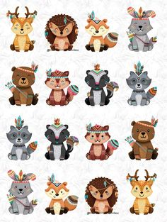 when animals are fancey Woodland Theme, Woodland Animals, Woodland Creatures, Tribal Animals, Cute Animals, Cute Drawings, Animal Drawings, Scrapbooking Invitation, Paper Plates