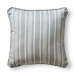 Made exclusively for Frontgate, the Tesoro Stripe Slate Outdoor Pillows with Cording feature a beautiful coastal stripe. | Veranda Pick: Frontgate's $25,000 Outdoor Makeover Sweeps