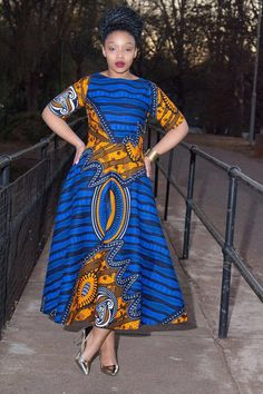 Blue African print dress by EssieAfricanPrint on Etsy More More
