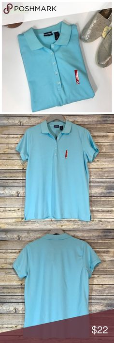 NWT IZOD Golf Stretch Polo, Size XL No more stealing your husband or boyfriend's polos! This polo is cut with a female's body in mind! Whether you are going golfing, to the office, or just to Target, this aquamarine polo will be a favorite selection. Material includes 4% spandex in its cotton blend to give it the perfect amount of stretch. Function. Comfort. Performance. Item is new with tags. Size XL. Izod Tops