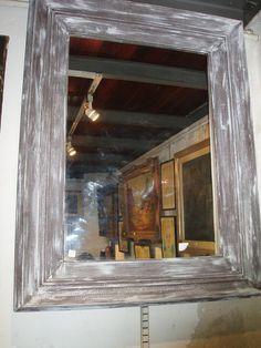 espejo marco madera patinado