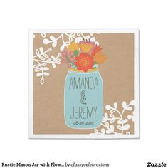 Rustic Mason Jar with Flowers on Craft Paper Disposable Napkin