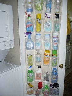 Repurposed Over the Door Shoe Rack -- I'm thinking on the door in the laundry room for cleaning supplies.