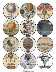 ballons à air chaud - images de cercle Vintage imprimable Tags numériques Collage feuille 2,5 pouces rond grand autocollant aimant de télécharger et imprimer