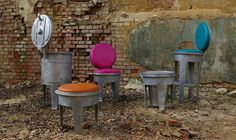 Metal garbage container furniture