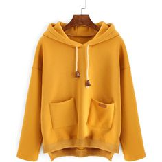 Hooded Drawstring Dip Hem Split Side Sweatshirt With Pockets (€12) ❤ liked on Polyvore featuring tops, hoodies, sweatshirts, yellow, pullover hoodie sweatshirt, yellow hooded sweatshirt, hoodies pullover, hooded pullover and yellow pullover hoodie