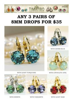 Sale Set of 3 Crystal earringsAny 3 PairsMix and Match by TIMATIBO