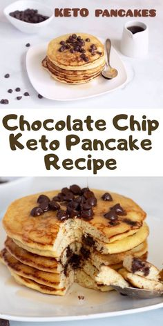 Chocolate Chip Keto Pancake Recipe - This keto breakfast recipe tastes amazing and is easy to make. Chocolate Chip Keto Pancake Recipe - This keto breakfast recipe tastes amazing and is easy to make. Sugar Free Chocolate Chips, Chocolate Chip Recipes, Quick Keto Breakfast, Breakfast Recipes, Breakfast Ideas, Breakfast Gravy, Pancake Recipes, Diet Breakfast, Ketogenic Breakfast