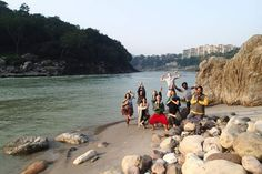 Our students having some fun on the Ganges River after the morning meditation class. Join us for a Yoga TTC or retreat in India! www.sushilyoga.com