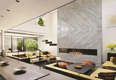Florida-based Spazio Marble & Granite offers the finest and most distinctive stone surfaces to give any space a sleek finish. Interior Design Living Room, Living Room Designs, E Room, Living Room With Fireplace, Interior Design Inspiration, Interior Ideas, Design Ideas, Fireplace Design, Best Interior