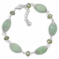 "7.5""+1"" Green Magnesite and Glass Bead Fashion Bracelet Windsor Sterling. $54.50"