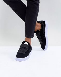 Puma Velour Basket Classic Sneakers In Black with Blue Sole