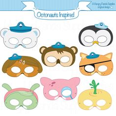 Octonauts Inspired Printable Masks, octonaut mask, cartoon masks, printable masks, character masks